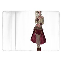 Steampunk Style Girl Wearing Red Dress Samsung Galaxy Tab 10 1  P7500 Flip Case