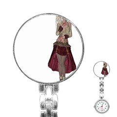Steampunk Style Girl Wearing Red Dress Stainless Steel Nurses Watch