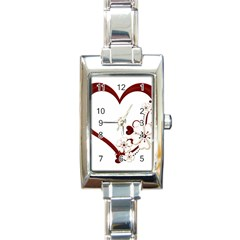 Red Love Heart With Flowers Romantic Valentine Birthday Rectangular Italian Charm Watch by goldenjackal