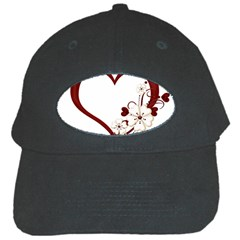 Red Love Heart With Flowers Romantic Valentine Birthday Black Baseball Cap