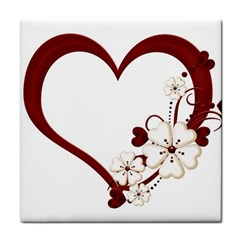 Red Love Heart With Flowers Romantic Valentine Birthday Ceramic Tile by goldenjackal