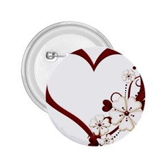 Red Love Heart With Flowers Romantic Valentine Birthday 2 25  Button by goldenjackal