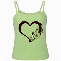 Red Love Heart With Flowers Romantic Valentine Birthday Green Spaghetti Tank