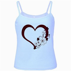 Red Love Heart With Flowers Romantic Valentine Birthday Baby Blue Spaghetti Tank by goldenjackal