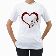 Red Love Heart With Flowers Romantic Valentine Birthday Women s Two Sided T Shirt (white)