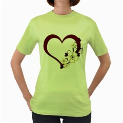 Red Love Heart With Flowers Romantic Valentine Birthday Women s T Shirt (green) by goldenjackal