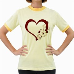 Red Love Heart With Flowers Romantic Valentine Birthday Women s Ringer T Shirt (colored)