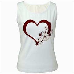 Red Love Heart With Flowers Romantic Valentine Birthday Women s Tank Top (White) by goldenjackal