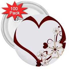 Red Love Heart With Flowers Romantic Valentine Birthday 3  Button (100 Pack) by goldenjackal