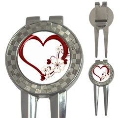 Red Love Heart With Flowers Romantic Valentine Birthday Golf Pitchfork & Ball Marker by goldenjackal