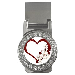 Red Love Heart With Flowers Romantic Valentine Birthday Money Clip (cz) by goldenjackal