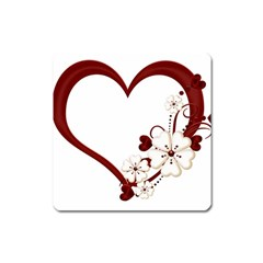 Red Love Heart With Flowers Romantic Valentine Birthday Magnet (square) by goldenjackal