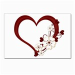 Red Love Heart With Flowers Romantic Valentine Birthday Postcards 5  x 7  (10 Pack)