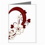 Red Love Heart With Flowers Romantic Valentine Birthday Greeting Card (8 Pack)