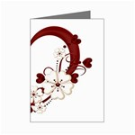 Red Love Heart With Flowers Romantic Valentine Birthday Mini Greeting Card