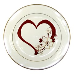Red Love Heart With Flowers Romantic Valentine Birthday Porcelain Display Plate by goldenjackal