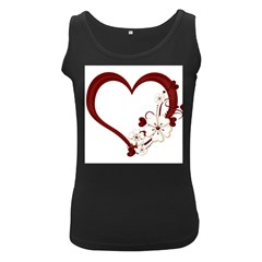 Red Love Heart With Flowers Romantic Valentine Birthday Women s Tank Top (black)