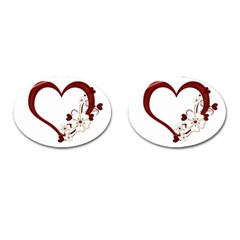 Red Love Heart With Flowers Romantic Valentine Birthday Cufflinks (oval) by goldenjackal