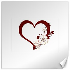 Red Love Heart With Flowers Romantic Valentine Birthday Canvas 20  X 20  (unframed) by goldenjackal