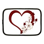 Red Love Heart With Flowers Romantic Valentine Birthday Netbook Sleeve (Medium) Front