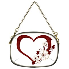 Red Love Heart With Flowers Romantic Valentine Birthday Chain Purse (one Side) by goldenjackal
