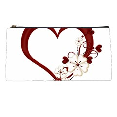 Red Love Heart With Flowers Romantic Valentine Birthday Pencil Case by goldenjackal