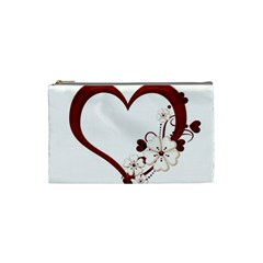 Red Love Heart With Flowers Romantic Valentine Birthday Cosmetic Bag (small) by goldenjackal