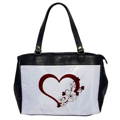 Red Love Heart With Flowers Romantic Valentine Birthday Oversize Office Handbag (one Side) by goldenjackal