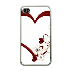 Red Love Heart With Flowers Romantic Valentine Birthday Apple Iphone 4 Case (clear) by goldenjackal