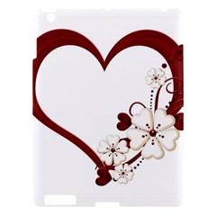 Red Love Heart With Flowers Romantic Valentine Birthday Apple Ipad 3/4 Hardshell Case by goldenjackal