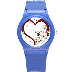Red Love Heart With Flowers Romantic Valentine Birthday Plastic Sport Watch (small) by goldenjackal