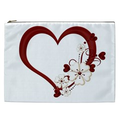 Red Love Heart With Flowers Romantic Valentine Birthday Cosmetic Bag (xxl) by goldenjackal