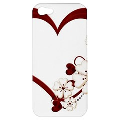 Red Love Heart With Flowers Romantic Valentine Birthday Apple Iphone 5 Hardshell Case