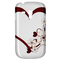 Red Love Heart With Flowers Romantic Valentine Birthday Samsung Galaxy S3 Mini I8190 Hardshell Case by goldenjackal