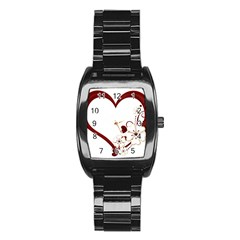 Red Love Heart With Flowers Romantic Valentine Birthday Stainless Steel Barrel Watch by goldenjackal