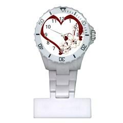 Red Love Heart With Flowers Romantic Valentine Birthday Nurses Watch