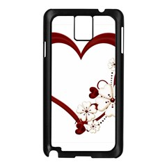 Red Love Heart With Flowers Romantic Valentine Birthday Samsung Galaxy Note 3 Case (black) by goldenjackal