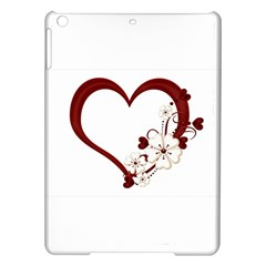 Red Love Heart With Flowers Romantic Valentine Birthday Apple Ipad Air Hardshell Case