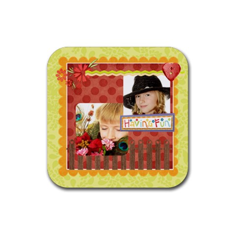 Kids By Kids   Rubber Coaster (square)   Sxit1xs0sato   Www Artscow Com Front