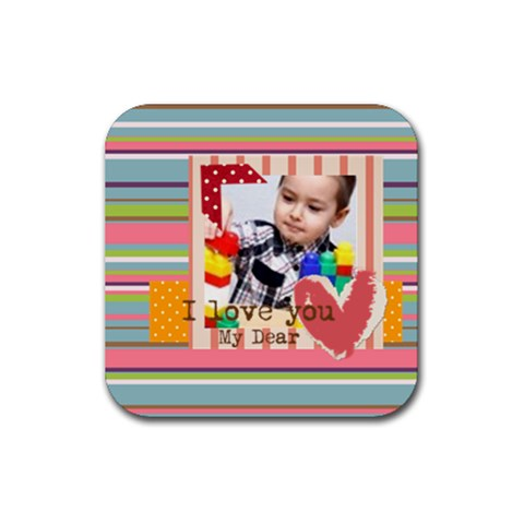 Kids By Kids   Rubber Coaster (square)   Wt903vakf64k   Www Artscow Com Front