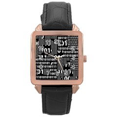 Beauty Of Binary Rose Gold Leather Watch