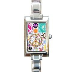 Peace Collage Rectangular Italian Charm Watch by StuffOrSomething