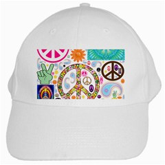 Peace Collage White Baseball Cap by StuffOrSomething