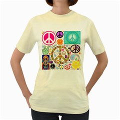 Peace Collage Women s T Shirt (yellow)