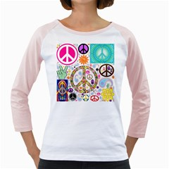 Peace Collage Women s Long Cap Sleeve T Shirt (white)  by StuffOrSomething