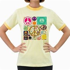 Peace Collage Women s Ringer T Shirt (colored)