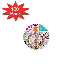 Peace Collage 1  Mini Button Magnet (100 Pack) by StuffOrSomething