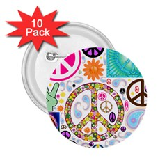 Peace Collage 2 25  Button (10 Pack) by StuffOrSomething