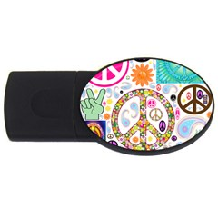 Peace Collage 1GB USB Flash Drive (Oval) by StuffOrSomething