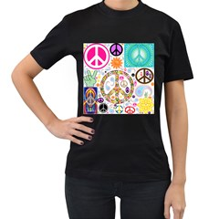 Peace Collage Women s Two Sided T Shirt (black)
